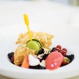 Gourmet dessert. Haute cuisine chocolate dessert with fruits and ice cream stock photo