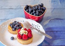 Berry desserts on blue planks. Gourmet desserts offered tonight include fresh blueberries, a  delectable blueberry butter cake, or a raspberry chocolate tart Stock Photos