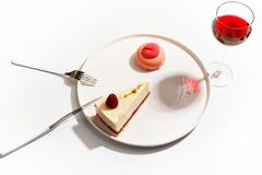 Gourmet desserts on a white plate. Top view royalty free stock photography