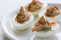 Gourmet deviled eggs. Decorated with paprika and dill Royalty Free Stock Photography