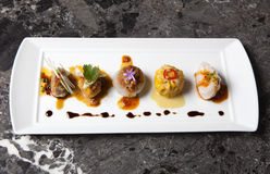 Gourmet Dim Sum on a Black Marble Background. Photograph of five dim sum on a black marble background stock images