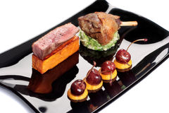 Gourmet Dish on a black plate Stock Images