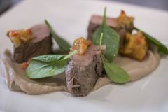 Gourmet dish with lamb and spinach royalty free stock photography