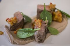 Gourmet dish with lamb and spinach royalty free stock photo
