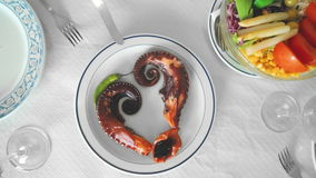 Gourmet dish of octopus stock footage