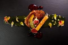 Gourmet duck dish royalty free stock photo
