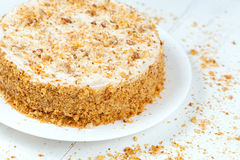 Gourmet easter carrot cake with cream and nut Royalty Free Stock Photos