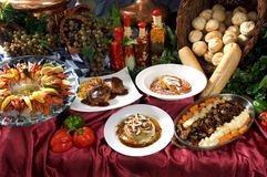 Gourmet entrees and appetizers Stock Photography