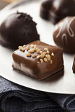 Gourmet Fancy Dark Chocolate Truffle Candy. For Dessert Stock Photos