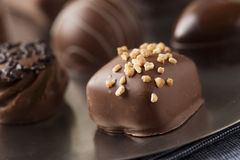 Gourmet Fancy Dark Chocolate Truffle Candy. For Dessert Stock Photography