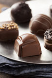 Gourmet Fancy Dark Chocolate Truffle Candy. For Dessert Royalty Free Stock Photo
