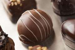Gourmet Fancy Dark Chocolate Truffle Candy. For Dessert Stock Photo