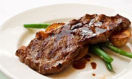 Gourmet Filet Mignon Steak. A gourmet filet mignon steak at five star restaurant royalty free stock image