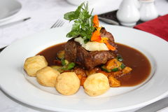 Gourmet Fillet. Gourmet beef fillet served with gravy and potato's Stock Images