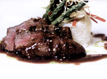 A gourmet fillet mignon steak. At five star restaurant stock photos