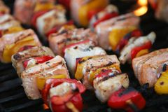 Gourmet fish grill. Fresh fish on grilling sticks, salmon and halibut with red and yellow pepper being barbecued, very delicious looking Stock Photography