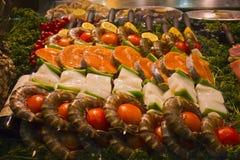 Gourmet Fish Platter in a Paris Market. Yummy Fish Platter on Display in a Paris Fish Market stock image