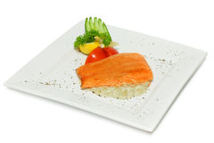 Gourmet fish - salmon steak Stock Photos