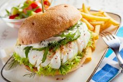 Gourmet fish seafood burger with mayo. And fresh salad greens and herbs on a crusty bun with side serving of potato chips stock images
