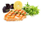 Gourmet Fish Steak with Lemon and Herbs. Restaurant Food Royalty Free Stock Photos