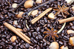 Gourmet Flavored Coffee Ingredients Stock Photos