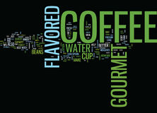 Gourmet Flavored Coffee Word Cloud Concept. Gourmet Flavored Coffee Text Background Word Cloud Concept Stock Photo