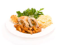 Gourmet food from chanterelles and chicken Royalty Free Stock Photos