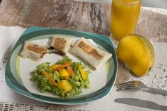 Gourmet food dishes - beef - accompanied with mango juice royalty free stock photography