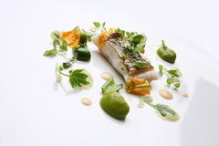 Gourmet food hake vegetables stock photography