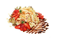 Gourmet food. Healthy Salad with Vegetable, Nuts, Berries Stock Photos