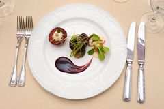 Gourmet food plate restaurant setting Stock Photography