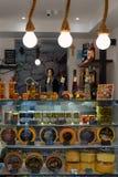 Gourmet food shop in Croatia. Makarska resort, Croatia, 2017: indoor view of the local wine, oil and gourmet food shop stock photography