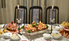 Gourmet food, table,cold cuts Royalty Free Stock Image