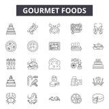Gourmet- foods fodrar symboler, tecken, vektoruppsättningen, översiktsillustrationbegrepp royaltyfri illustrationer
