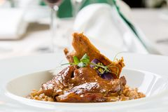 Duck with barley. Gourmet fresh duck with barley in white palte royalty free stock photo