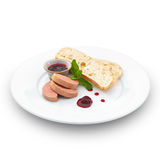 Gourmet fresh foie gras pate. Isolated on white. Stock Photography