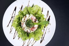 Gourmet fusion seafood and apple celery salad with wasabi mayo. Gourmet fusion cuisine  seafood and apple celery salad with zesty wasabi mayo Royalty Free Stock Image