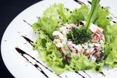 Gourmet fusion seafood and apple celery salad with wasabi mayo. Gourmet fusion cuisine  seafood and apple celery salad with zesty wasabi mayo Stock Images