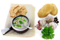 Gourmet Garlic and Potatoes cream soup Royalty Free Stock Images