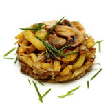 Gourmet garnish - potato and mushroom Royalty Free Stock Images