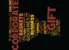 Gourmet Gift Baskets For Corporate Gifts Text Background  Word Cloud Concept Stock Photo
