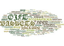 Gourmet Gift Baskets Impress Your Business Contacts Word Cloud Concept Stock Photo