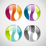 Gourmet glossy web button icons set. Multicolored glossy food web icons set background. Vector illustration layered for easy manipulation and custom coloring Royalty Free Stock Photography