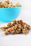 Gourmet granola in blue bowl vertical Stock Images