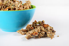 Gourmet granola in bowl on white Royalty Free Stock Images