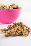 Gourmet granola in pink bowl vertical Royalty Free Stock Photo