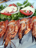 Gourmet Greek food, shrimp kebab Stock Images