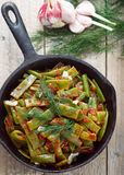Gourmet Green beans stewed with tomatoes, onions and garlic Stock Images