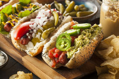 Gourmet Grilled All Beef Hots Dogs. With Sides and Chips Stock Image