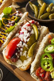 Gourmet Grilled All Beef Hots Dogs. With Sides and Chips Royalty Free Stock Photo